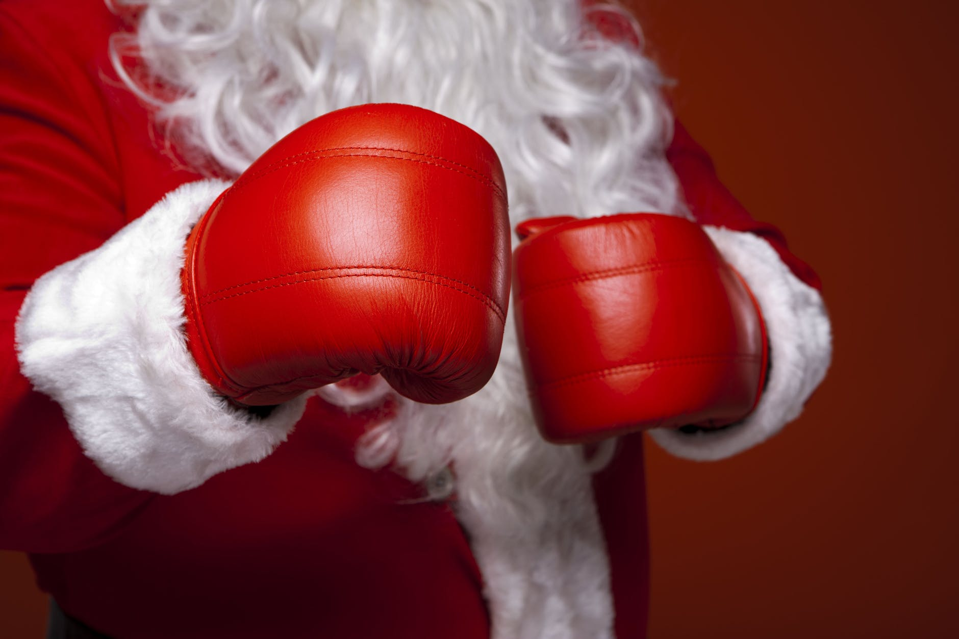 santa claus wearing boxing gloves