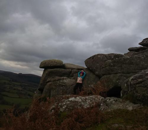 The barefoot sub found Hunters tor on a grey autumnal day.