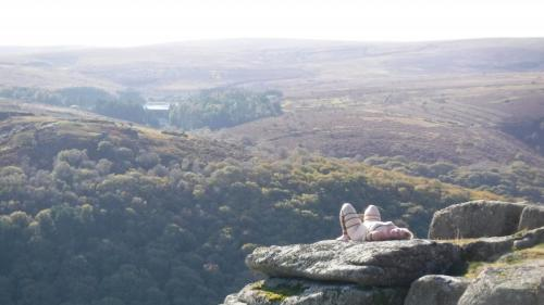 The barefoot sub bound on Mel Tor, basking in the sun.